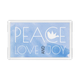 Peace love and joy blue watercolor dove Christmas Acrylic Tray
