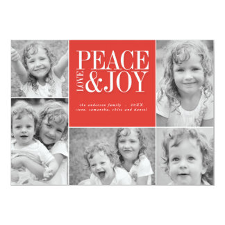 Peace, Love and Joy Collage Holiday Photo Card
