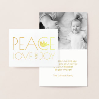 Peace love and Joy dove Christmas photo gold Foil Card