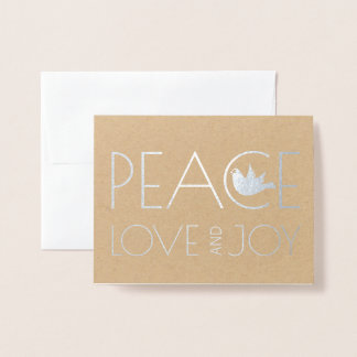 Peace love and Joy dove Christmas photo silver Foil Card