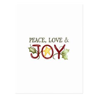 PEACE LOVE AND JOY POSTCARD
