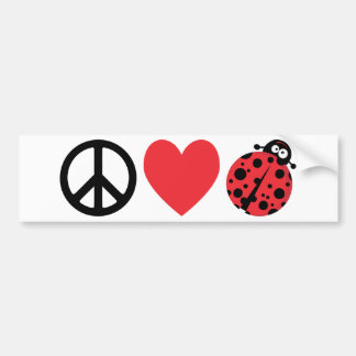 Peace Love and Ladybugs Bumper Sticker