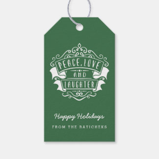 Peace, Love, and Laughter Gift Tags | Green