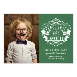 Peace, Love, and Laughter | Green | Holiday Card