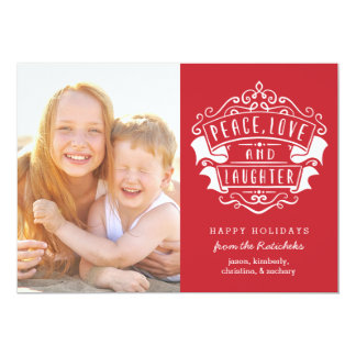 Peace, Love, and Laughter | Red | Holiday Card 13 Cm X 18 Cm Invitation Card