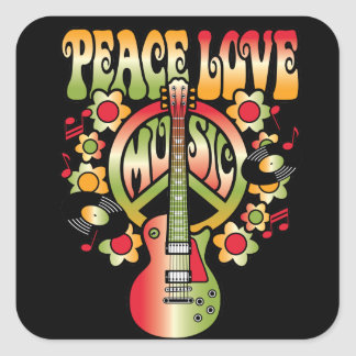 Peace Love and Music Square Sticker