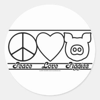 Peace Love and Piggies Round Sticker