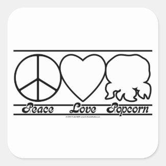 Peace Love and Popcorn Square Sticker