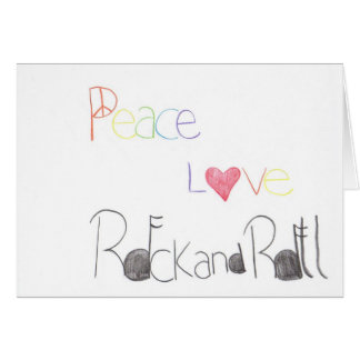 Peace Love and Rock and Roll Greeting Card