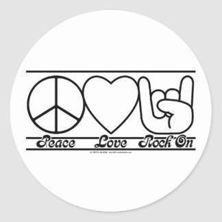 Peace Love and RockOn Round Sticker