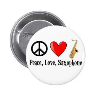 Peace, Love, and Saxophone 6 Cm Round Badge