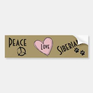 PEACE, LOVE, and SIBERIANS Bumper Sticker
