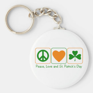 Peace, Love and St Patty's Day Basic Round Button Key Ring