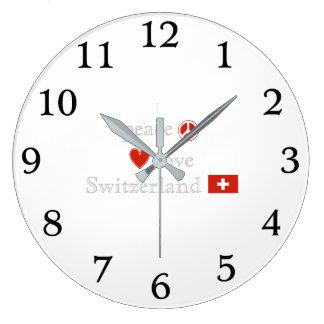 Peace Love and Switzerland Large Clock