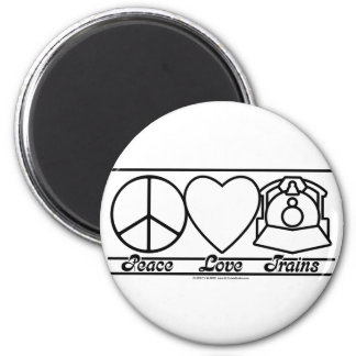 Peace Love and Trains 6 Cm Round Magnet