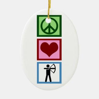 Peace Love Archery Ceramic Ornament