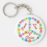 Peace Love Aries Basic Round Button Key Ring