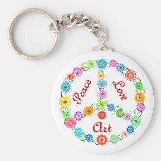 Peace Love Art Basic Round Button Key Ring