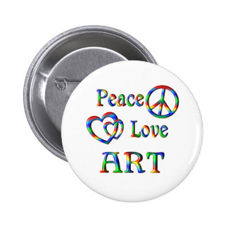 Peace Love ART Pinback Button