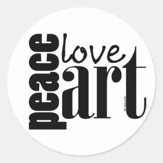 Peace Love Art Round Sticker