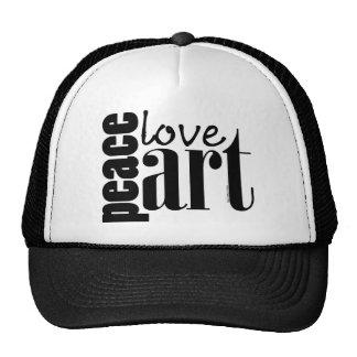 Peace Love Art Trucker Hat