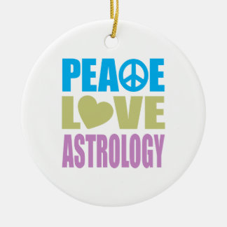 Peace Love Astrology Round Ceramic Decoration