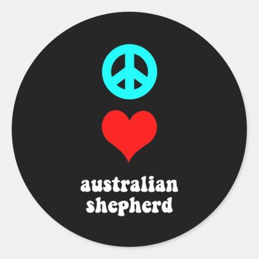 Peace love Australian Shepherd Round Sticker