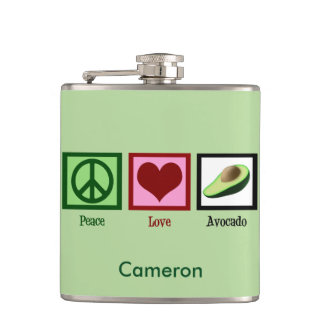 Peace Love Avocado Custom Green Flasks