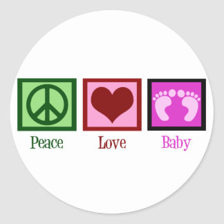 Peace Love Baby Girl Classic Round Sticker