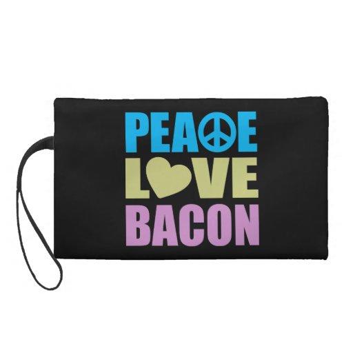 Peace Love Bacon Wristlet Purse