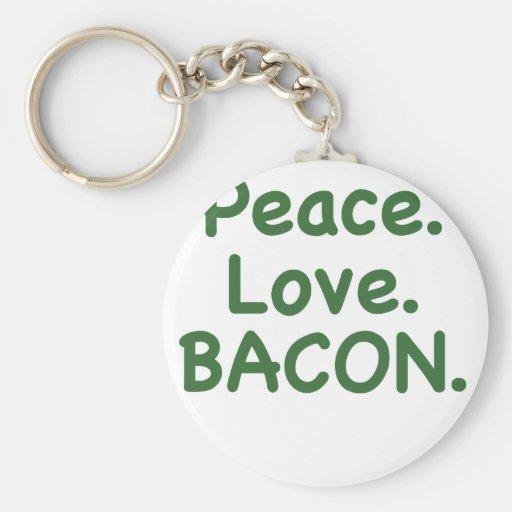 Peace Love Bacon Key Chain