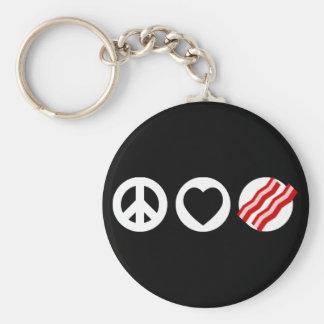 Peace Love Bacon Key Ring