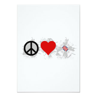 Peace Love Badminton Emblem 13 Cm X 18 Cm Invitation Card