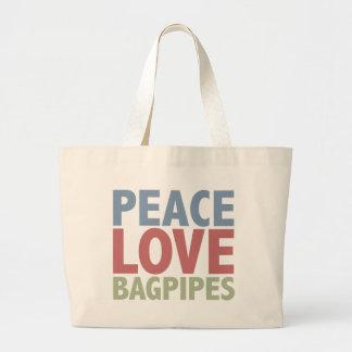 Peace Love Bagpipes Large Tote Bag