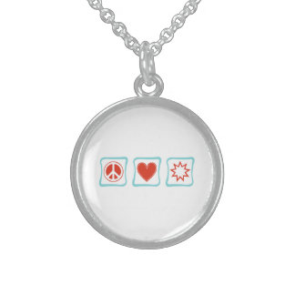 Peace Love Baha'i Squares Sterling Silver Necklace