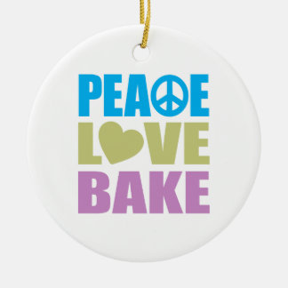 Peace Love Bake Ceramic Ornament