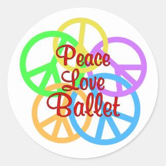 Peace Love Ballet Round Sticker