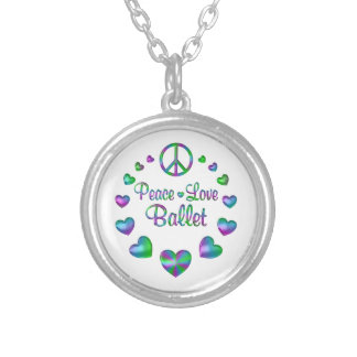 Peace Love Ballet Silver Plated Necklace