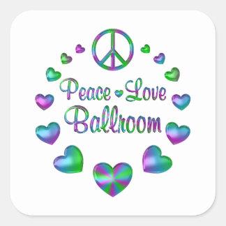 Peace Love Ballroom Square Sticker