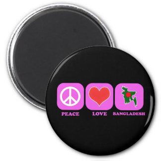 Peace Love Bangladesh 6 Cm Round Magnet
