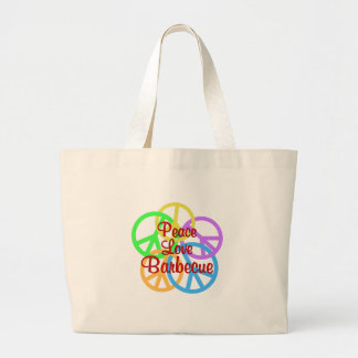 Peace Love Barbecue Large Tote Bag