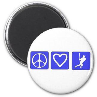 Peace Love Baseball 6 Cm Round Magnet