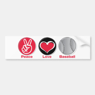 Peace Love Baseball red Bumper Stickers