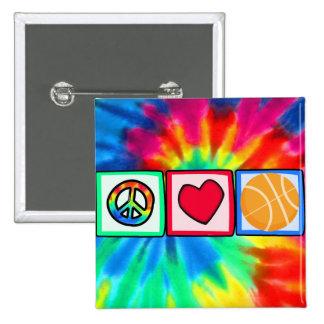 Peace, Love, Basketball 15 Cm Square Badge