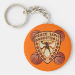 Peace Love Basketball Basic Round Button Key Ring