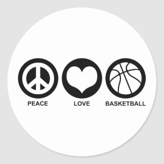 Peace Love Basketball Classic Round Sticker