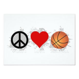 Peace Love Basketball Emblem 13 Cm X 18 Cm Invitation Card