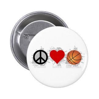 Peace Love Basketball Emblem 6 Cm Round Badge