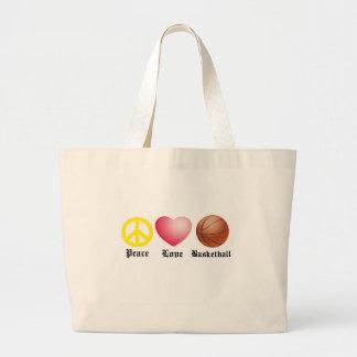 Peace, Love, Basketball Jumbo Tote Bag