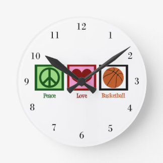 Peace Love Basketball Wallclock